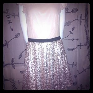 Champagne Dress with Sequin Skirt